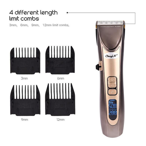 Image of Barber Hair Clipper - LCD Digital - Fine Tuning Beard Trimmer - USB Rechargeable-shavercentre.com.au