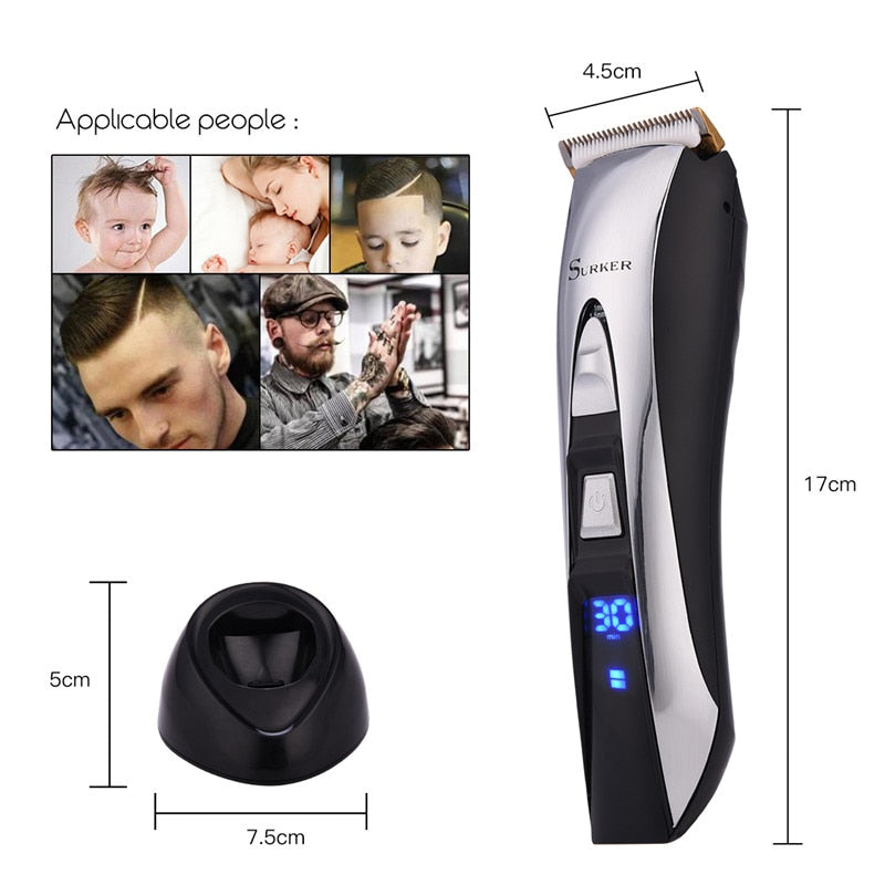 Low Noise Hair Trimmer - Titanium & Ceramic Blade - LED Screen-shavercentre.com.au