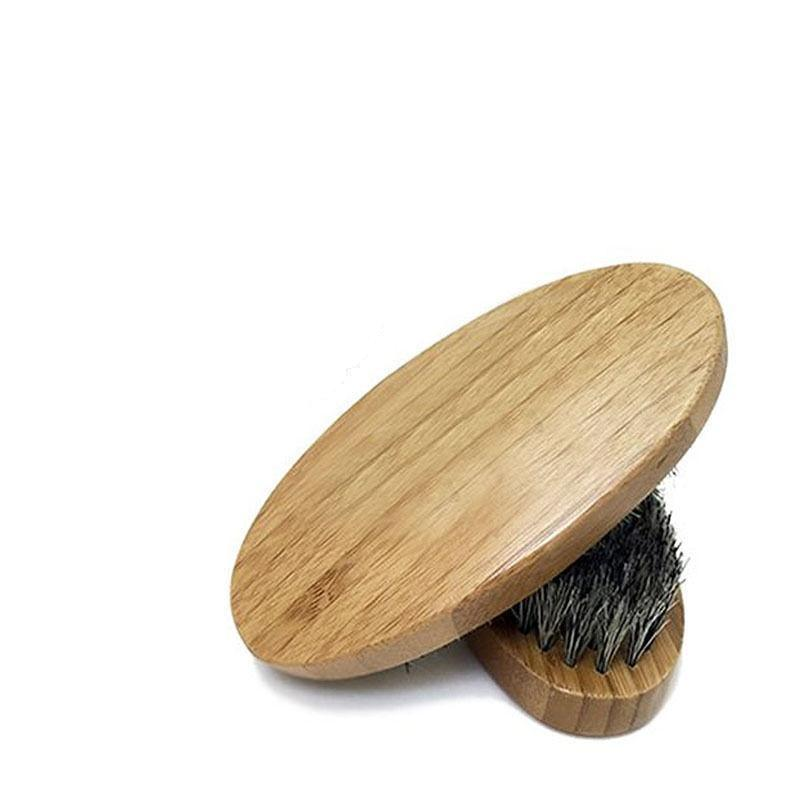 Round Wooden Beard Brush-shavercentre.com.au