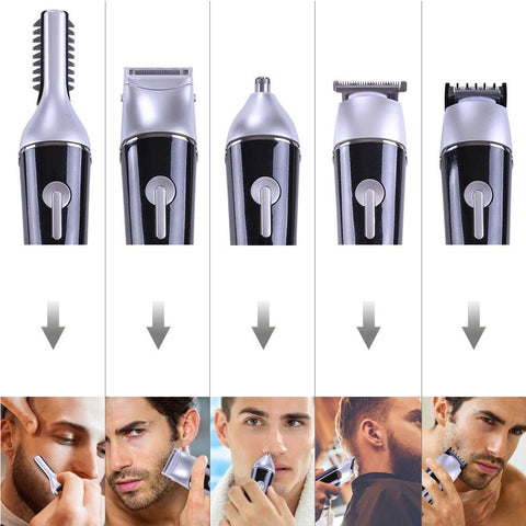 Image of SURKER Professional 5 in 1 Hair Clipper Rechargeable Cordless Grooming Kit for Men Beard Trimmer Nose Hair Trimmer Dual Shaver-shavercentre.com.au