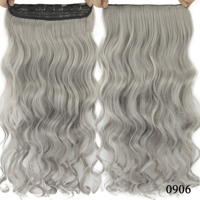 Long, Natural Synthetic Hair Clip Extensions-shavercentre.com.au