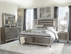 Tamsin - Champagne Gray Queen Bed with LED Headboard