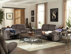 Reyes Graphite Lay Flat Reclining Loveseat With Storage and Cupholders