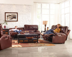 Wembley Walnut Power Reclining Sofa with Power Headrest