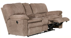 Reyes Portabella Lay Flat Reclining Loveseat With Storage and Cupholders