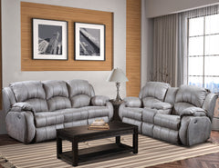 Cagney Nickel Power Sofa & Power Loveseat