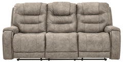 Yacolt- Walnut Pwr Rec Sofa With Adj Headrest