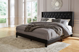 Vintasso Queen Upholstered Button Tufted Headboard, Footboard, Roll Slats -Black