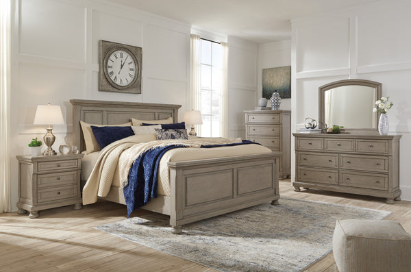 Shop Ashley Furniture Lettner Light Gray King Panel Bed Set at  Raley's Home Furnishing