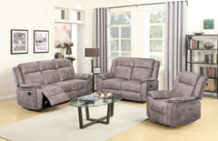 U9077- Polished Gray with Black Welt Power Reclining Sofa with Power Headrest