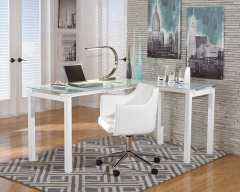Baraga L-Shaped Desk and Swivel Desk Chair