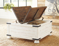 Wystfield White/Brown Storage Trunk Cocktail Table