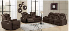 U1817 Agnes Walnut Power Reclining Loveseat with Console