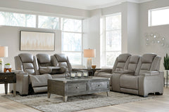The Man-Den Power Reclining Sofa and Power Reclining Love with Adjustable Headrest