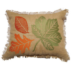 Embroidered Leaf Pillow