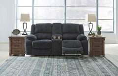 Draycoll Reclining Loveseat with Console- Slate