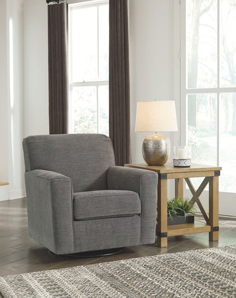 Alcona Charcoal Swivel Glider Accent Chair
