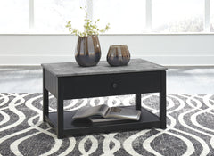 Ezmonei - Black/Gray - Lift Top Cocktail Table
