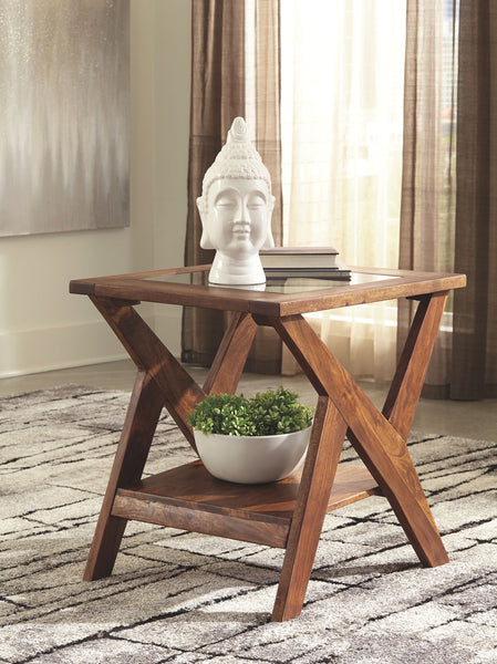 Charzine - Warm Brown - Rectangular End Table