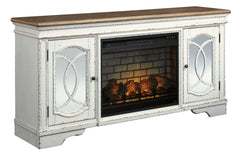 Realyn Chipped White Black XL TV Stand w/Fireplace