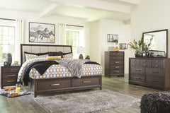 Brueban King Storage Bed w/ Dresser Mirror & Nightstand