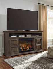 Wyndahl Black XL TV Stand w/Fireplace