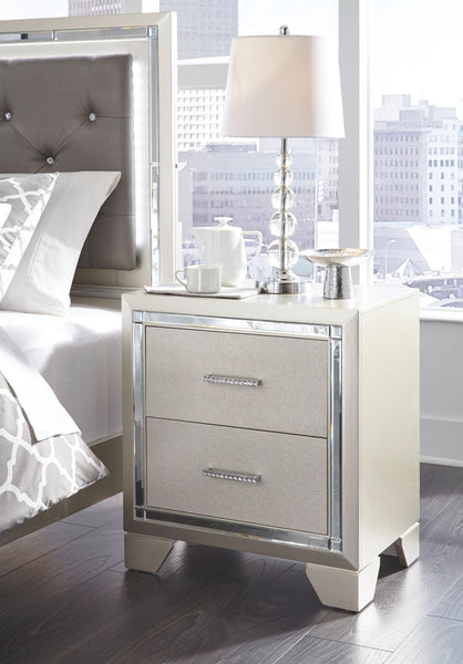 Lonnix - Silver Finish - Two Drawer Night Stand