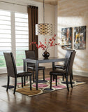 Kimonte Table & 4 Side Brown Chairs