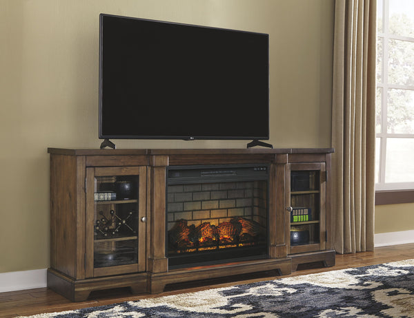 Flynnter Black XL TV Stand with Fire Place Insert