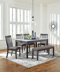 Luvoni Dark Charcoal Gray Table 4 Side Chairs & Bench