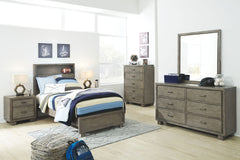 Arnett Gray 4 Pc. Dresser, Mirror & Twin Storage Bed
