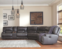 McCaskill Gray 2 Seat REC PWR Sofa, Oversized Wedge & DBL REC PWR Loveseat with Console Sectional