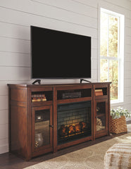 Harpan Reddish Brown Black Xl Tv Stand W/Fireplace