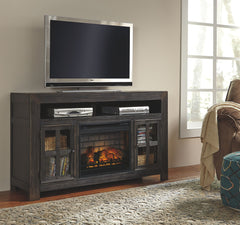 Gavelston Black Large TV Stand W/Fireplace Option