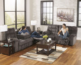 Acieona Slate REC Sofa with Drop Down Table & DBL Rec Loveseat with Console