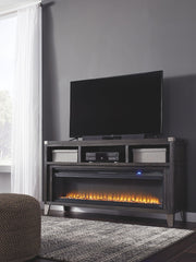 Todoe Black LG TV Stand w/Fireplace Insert
