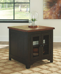Valebeck - Black/Brown - Rectangular End Table