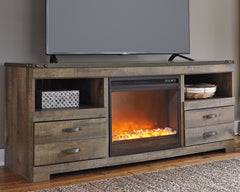 Trinell Black Tv stand with Fireplace