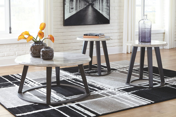 Luvoni - White/Dark Charcoal Gray - Occasional Table Set (3/CN)
