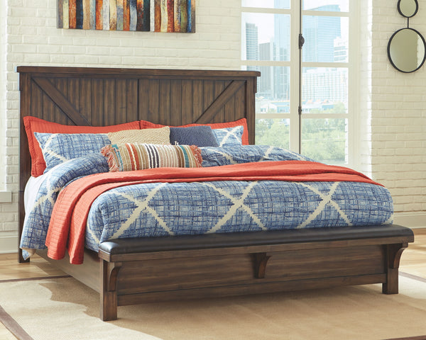 Lakeleigh Brown Queen Bed w/ Footboard Bench