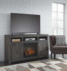 Mayflyn Charcoal Black Lg Tv Stand W/Fireplace