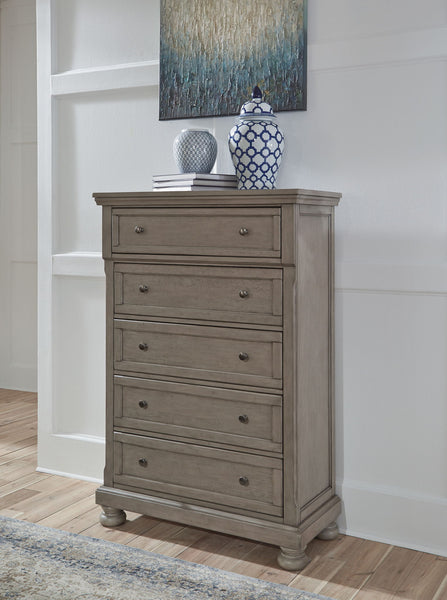 Lettner - Light Gray - Five Drawer Chest