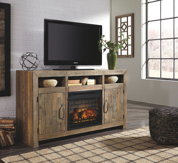 Sommerford Black Lg Tv Stand W/ Fireplace