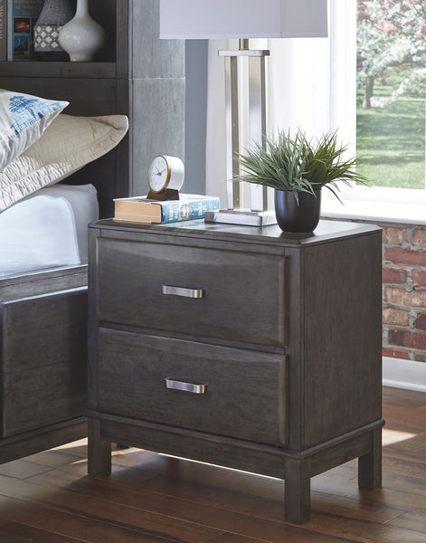 Caitbrook - Gray - Two Drawer Night Stand