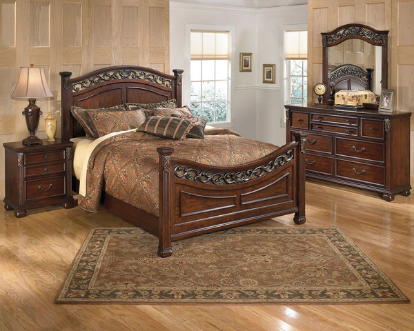 Leahlyn Queen Bed w/ Dresser Mirror & Nightstand