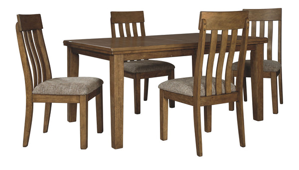 Flaybern Brown Table & 4 Side Chairs