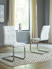 Madanere - White/Chrome Finish - Dining UPH Side Chair
