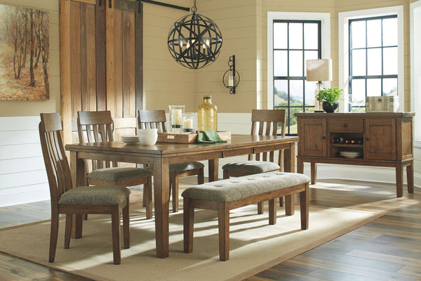 Flaybern Brown Table & 4 Side Chairs+ Bench