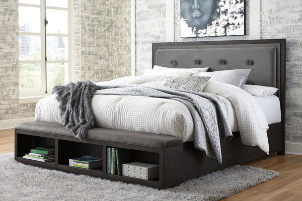 Hyndell Dark Brown King Storage Bed