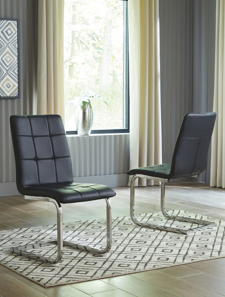 Madanere - Black/Chrome Finish - Dining UPH Side Chair